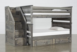 Summit Grey Full Over Full Bunk With 2-Drw Underbed Storage & Stairway