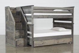 Summit Grey Full Over Full Bunk With Trundle/Mattress & Stairway