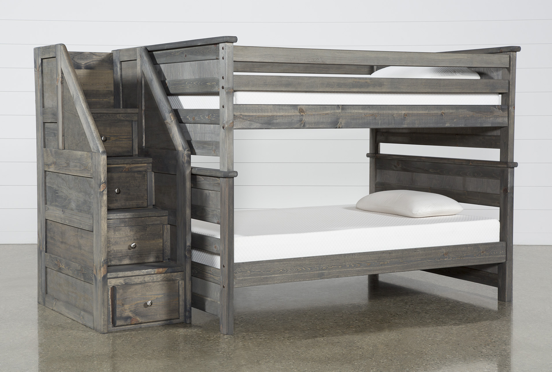 Picture of: Summit Grey Full Over Full Bunk Bed With Stairway Chest Living Spaces