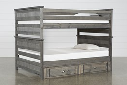 Summit Grey Full Over Full Bunk Bed With 2-Drawer Underbed Storage