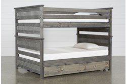 Summit Grey Full Over Full Bunk Bed With Trundle With Mattress