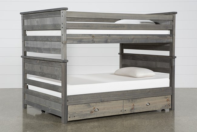 Summit Grey Full Over Full Bunk Bed With Trundle With Mattress - 360