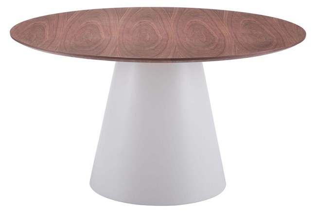 Cone White + Brown Round Dining Table   - 360