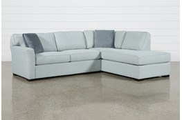 Aspen Tranquil Foam 2 Piece Sleeper Sectional With Right Arm Facing Armless Chaise