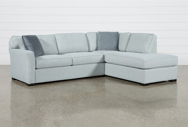 """Aspen Tranquil Foam 2 Piece Sleeper 108"""" Sectional With Right Arm Facing Armless Chaise - 360"""