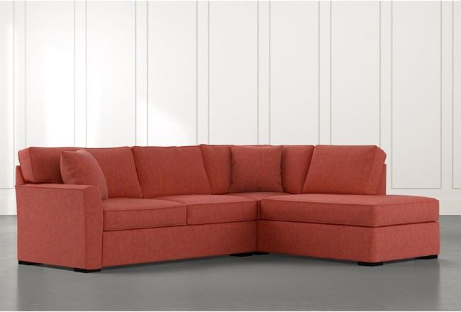 Aspen Red 2 Piece Sleeper Sectional with Right Arm Facing Chaise - 360