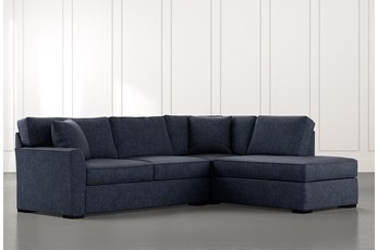 Aspen Navy Blue 2 Piece Sleeper Sectional With Raf Chaise