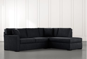 Aspen Black 2 Piece Sleeper Sectional with Right Arm Facing Chaise