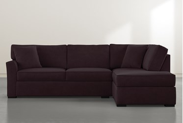 """Aspen Purple Foam 2 Piece Sleeper 108"""" Sectional With Right Arm Facing Armless Chaise"""