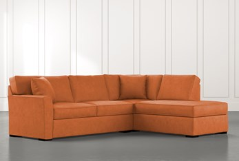 Aspen Orange 2 Piece Sectional with Right Arm Facing Chaise