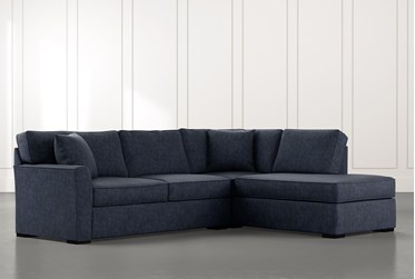 Aspen Navy Blue 2 Piece Sectional with Right Arm Facing Chaise
