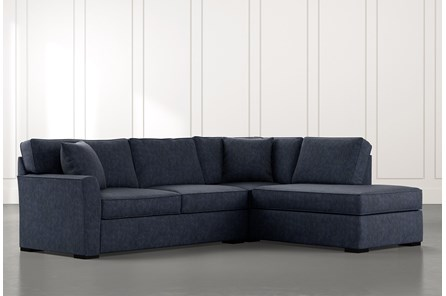 Aspen Navy Blue 2 Piece Sectional With Raf Chaise