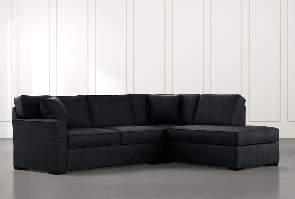 Aspen Black 2 Piece Sectional with Right Arm Facing Chaise