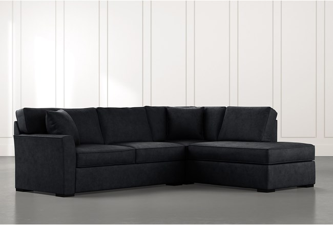Aspen Black 2 Piece Sectional with Right Arm Facing Chaise - 360
