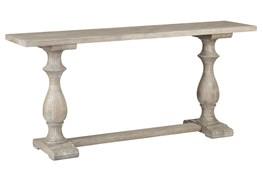 White Wash Pillar Console Table