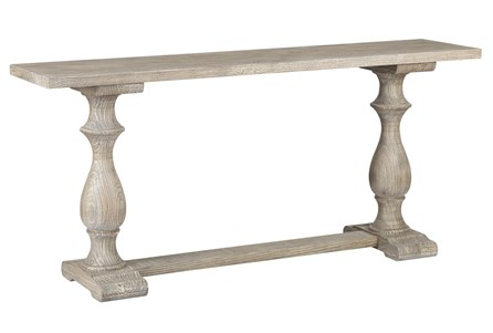 White Wash Pillar Console Table