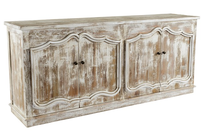 Distressed White 82 Inch Sideboard  - 360