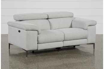 "Talin Linen 68"" Power Reclining Loveseat With Usb"