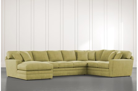 Prestige Down Green 3 Piece Sectional With Left Arm Facing Chaise