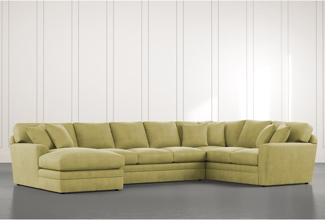 Prestige Down Green 3 Piece Sectional With Left Arm Facing Chaise - 360