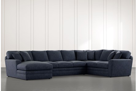 Prestige Down Navy Blue 3 Piece Sectional With Left Arm Facing Chaise