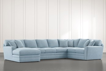 Prestige Down Light Blue 3 Piece Sectional With Left Arm Facing Chaise
