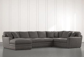 Prestige Down Dark Grey 3 Piece Sectional With Left Arm Facing Chaise