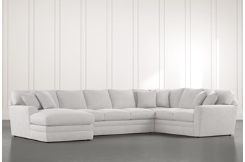 Prestige Down Light Grey 3 Piece Sectional With Left Arm Facing Chaise