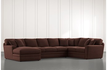 Prestige Down Brown 3 Piece Sectional With Left Arm Facing Chaise