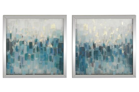 Aqua Abstract Shadowbox