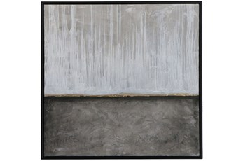 Picture-Grey Rain Embellished Canvas 37.5X37.5
