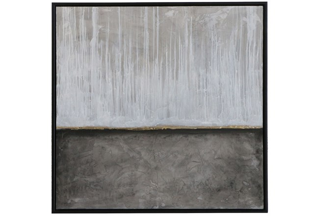 Picture-Grey Rain Embellished Canvas 37.5X37.5 - 360