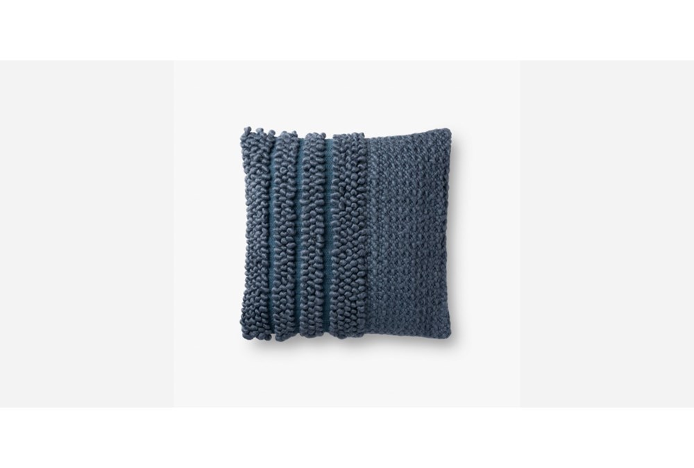Accent Pillow-Magnolia Home Knotted Stripe Navy 18X18 By Joanna Gaines
