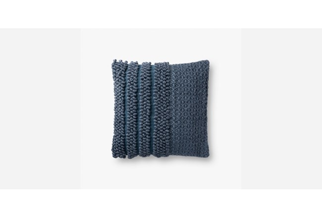 Accent Pillow-Magnolia Home Knotted Stripe Navy 18X18 By Joanna Gaines - 360