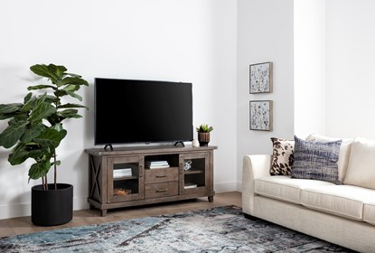 Jaxon Grey 68 Inch Tv Stand With Gkass Doors Living Spaces