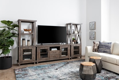 Jaxon Grey 3 Piece Entertainment Center With 65 Inch Tv Stand With Glass Doors Living Spaces