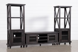 Jaxon 3 Piece Entertainment Center With 65 Inch TV Stand With Glass Doors