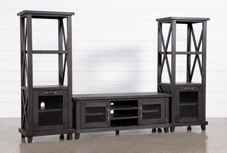 Jaxon 3 Piece Entertainment Center With 65 Inch TV Stand With Glass Doors - Main