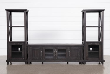 Jaxon 3 Piece Entertainment Center With 76 Inch Plasma Console With Glass Doors