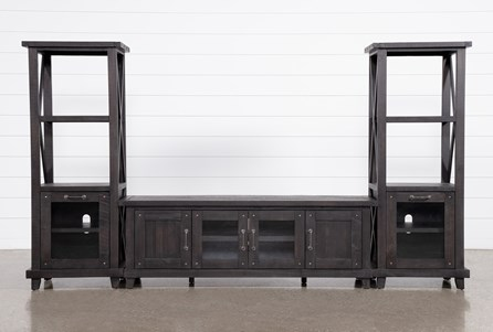 Jaxon 3 Piece Entertainment Center With 76 Inch Plasma Console With Glass Doors - Main