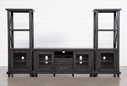 Jaxon 3 Piece Entertainment Center With 68 Inch TV Stand With Glass Doors