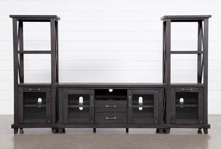 Jaxon 3 Piece Entertainment Center With 68 Inch TV Stand With Glass Doors - Main