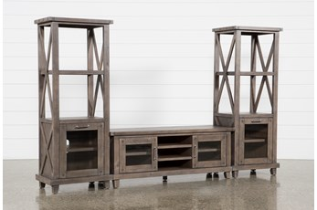 Jaxon Grey 3 Piece Entertainment Center With 65 Inch TV Stand