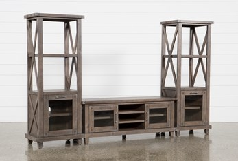 Jaxon Grey 3 Piece Entertainment Center With 65 Inch TV Stand With Glass Doors
