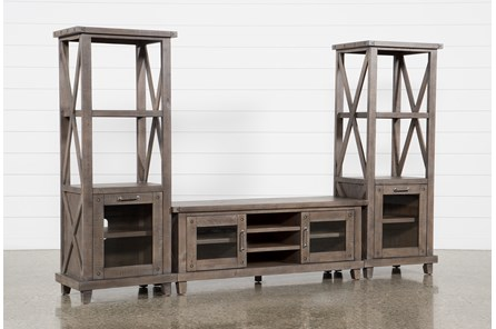 Jaxon Grey 3 Piece Entertainment Center With 65 Inch TV Stand With Glass Doors - Main
