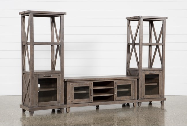 Jaxon Grey 3 Piece Entertainment Center With 65 Inch TV Stand - 360