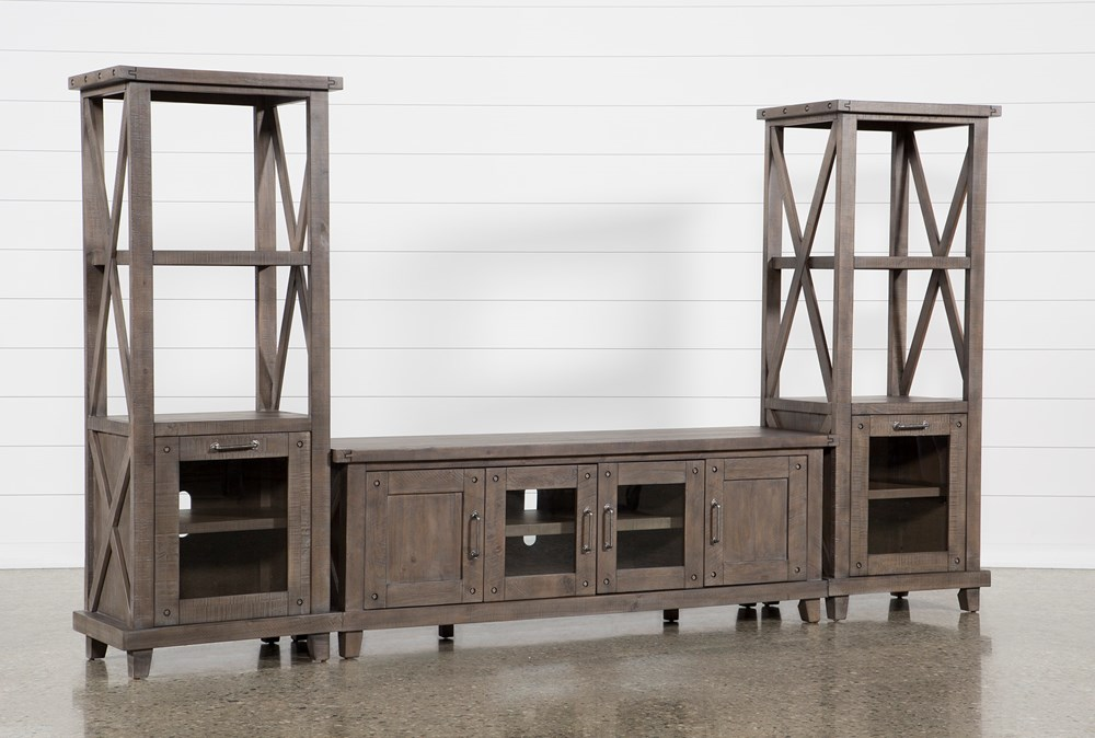 Jaxon Grey 3 Piece Entertainment Center With 76 Inch Plasma Console