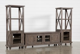 Jaxon Grey 3 Piece Entertainment Center With 76 Inch Plasma Console With Glass Doors