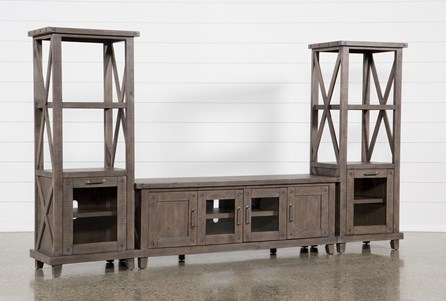 Jaxon Grey 3 Piece Entertainment Center With 76 Inch Plasma Console With Glass Doors - Main