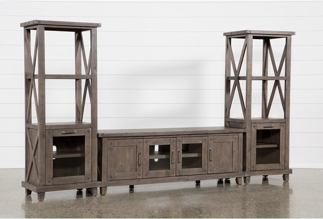 Jaxon Grey 3 Piece Entertainment Center With 76 Inch Plasma Console - 360